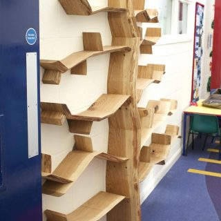 school library tree shelf