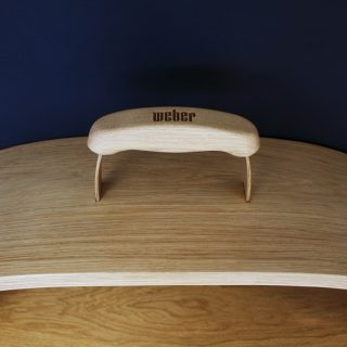 wooden barbecue shelf top
