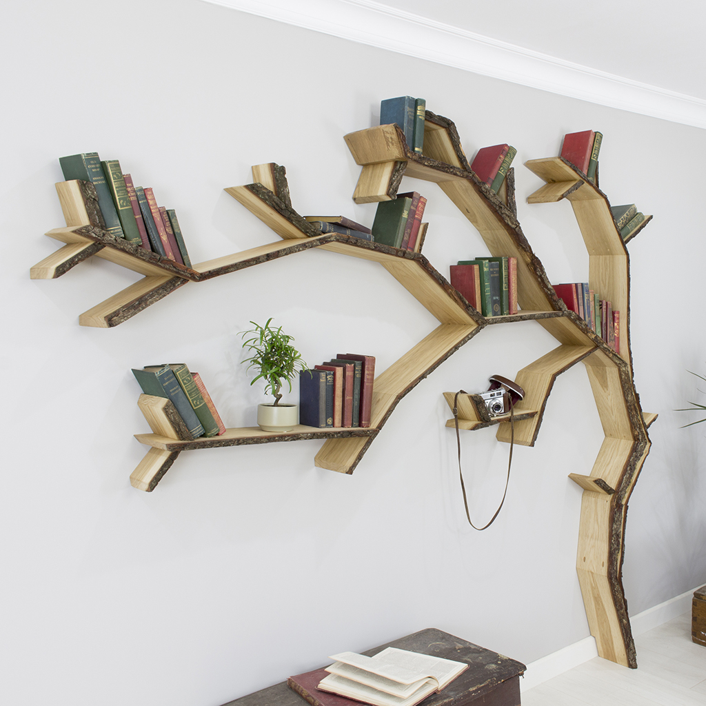tree shaped bookshelves  idi design - oak tree shelf windwept oak tree bookcase shelf product image fullresolution snapshot