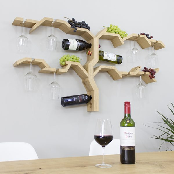 wall mounted glass rack grape vine