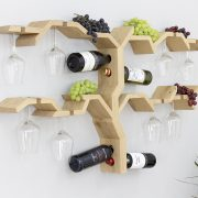 wall mounted wine rack wooden grape vine