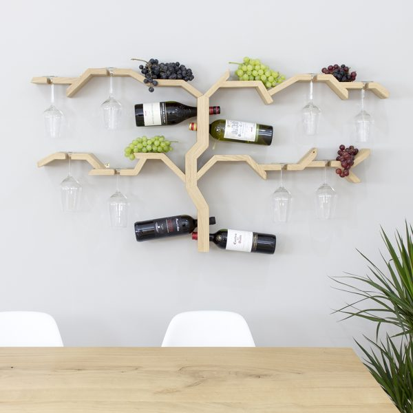 wooden wall mounted wine rack grape vine