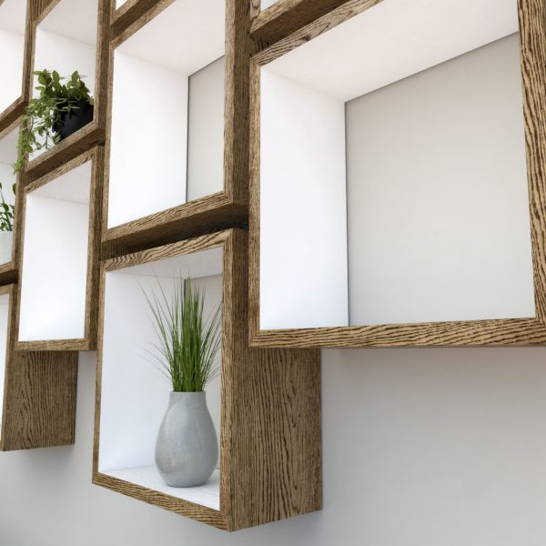 Square Shelves Cube shelves white painted dark oak cube shelf