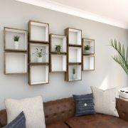 Square Shelves Cube shelves white painted dark oak cube shelf_Full Left Shot