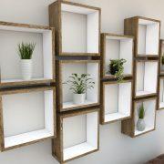 Square Shelves Cube shelves white painted dark oak cube shelf_Left Angled Shot I