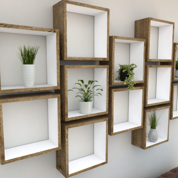 Square Shelves Cube shelves white painted dark oak cube shelf_Left Angled Shot I