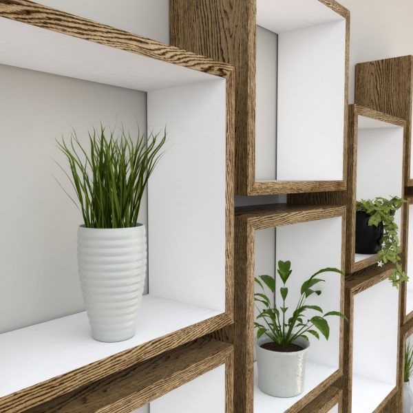 Square Shelves Cube shelves white painted dark oak cube shelf_Left Angled Shot III