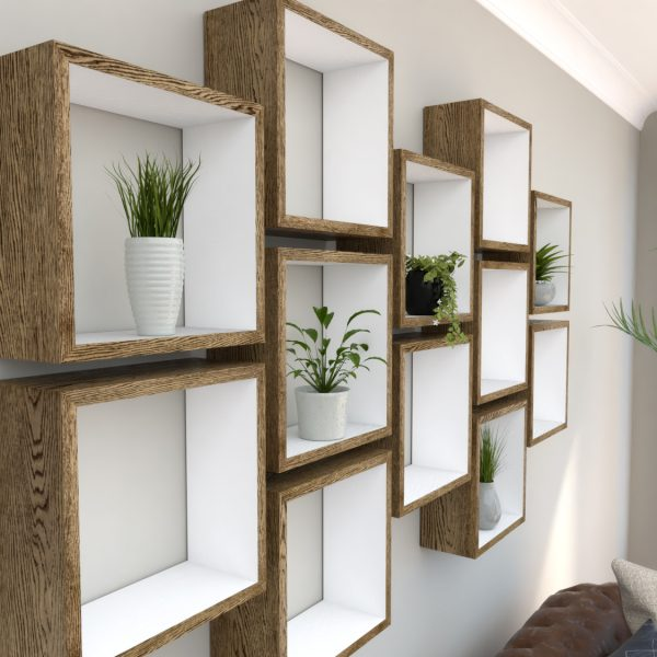 Square Shelves Cube shelves white painted dark oak cube shelf_Left Angled Shot IV