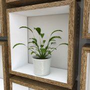 Square Shelves Cube shelves white painted dark oak cube shelf_Plant Shot Close