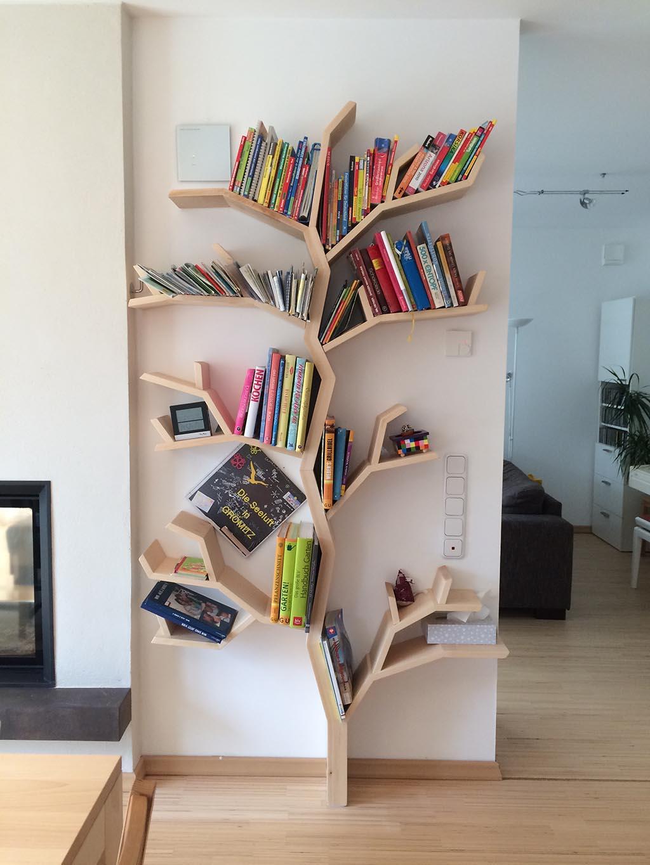 The elm tree shelf a practical tree shelf design by for Tree of life bookshelf