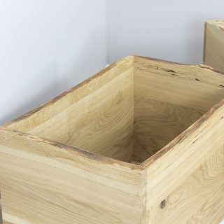 oak toy boxes open top waney edge oak storage box