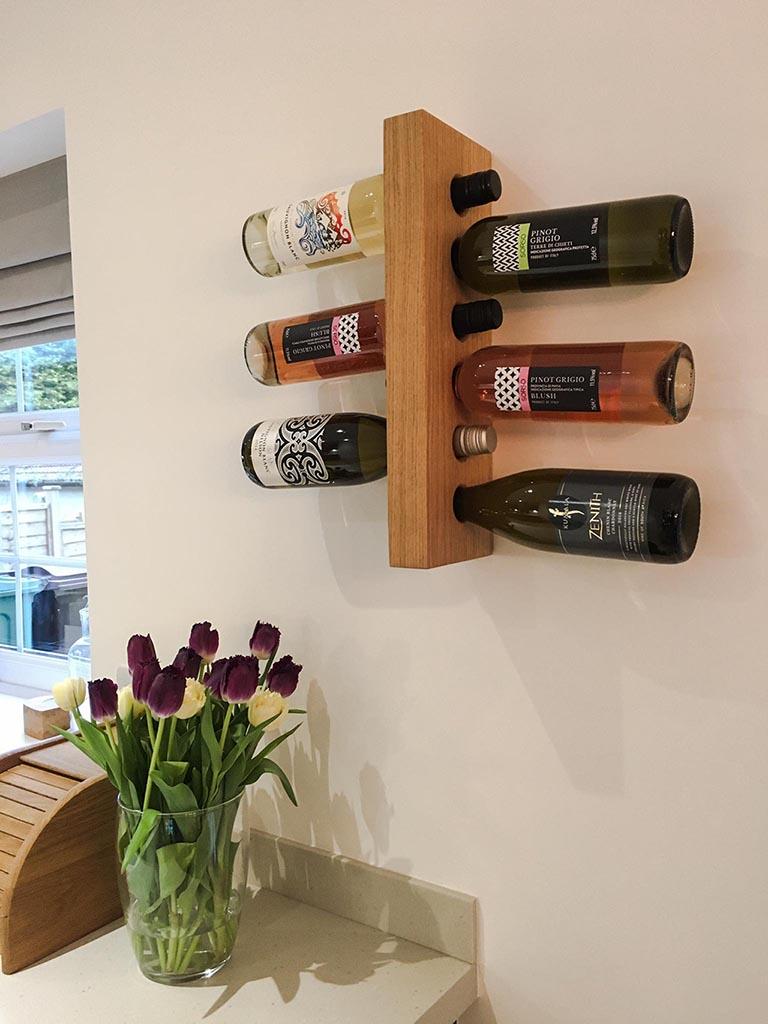 Floating Oak Wall Mounted Wine Rack Wine Bottle Rack