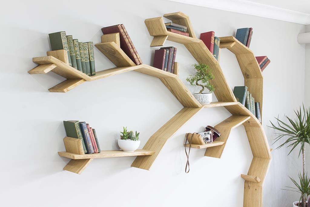 Tree Branch Book Shelf: The Windswept Oak Tree Bookshelf