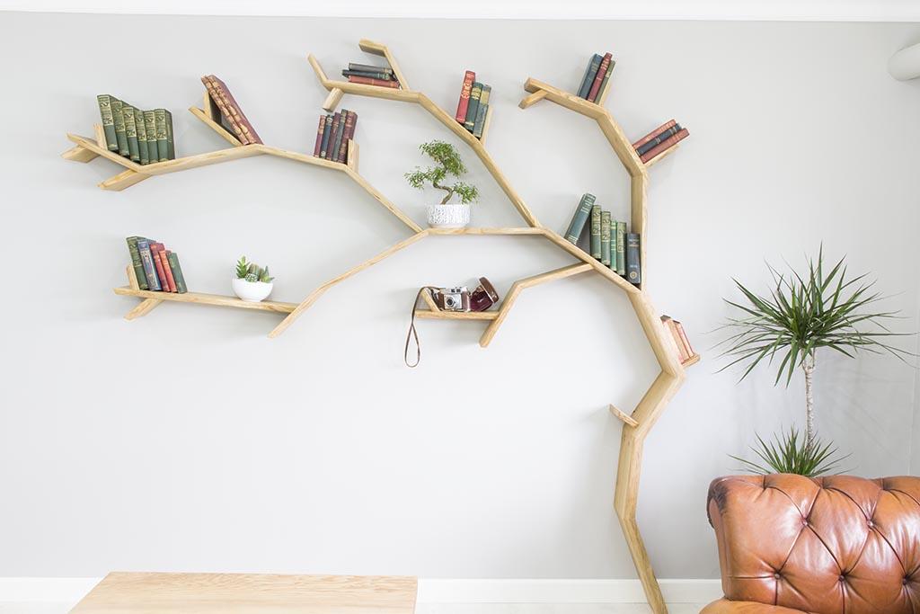 how to make a tree branch bookshelf