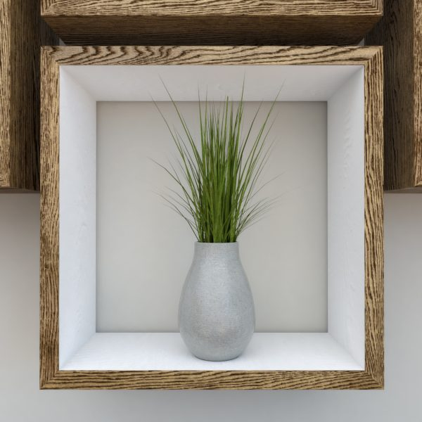 Square Shelves Cube shelves white painted dark oak cube shelf_Straight Close Plant IV