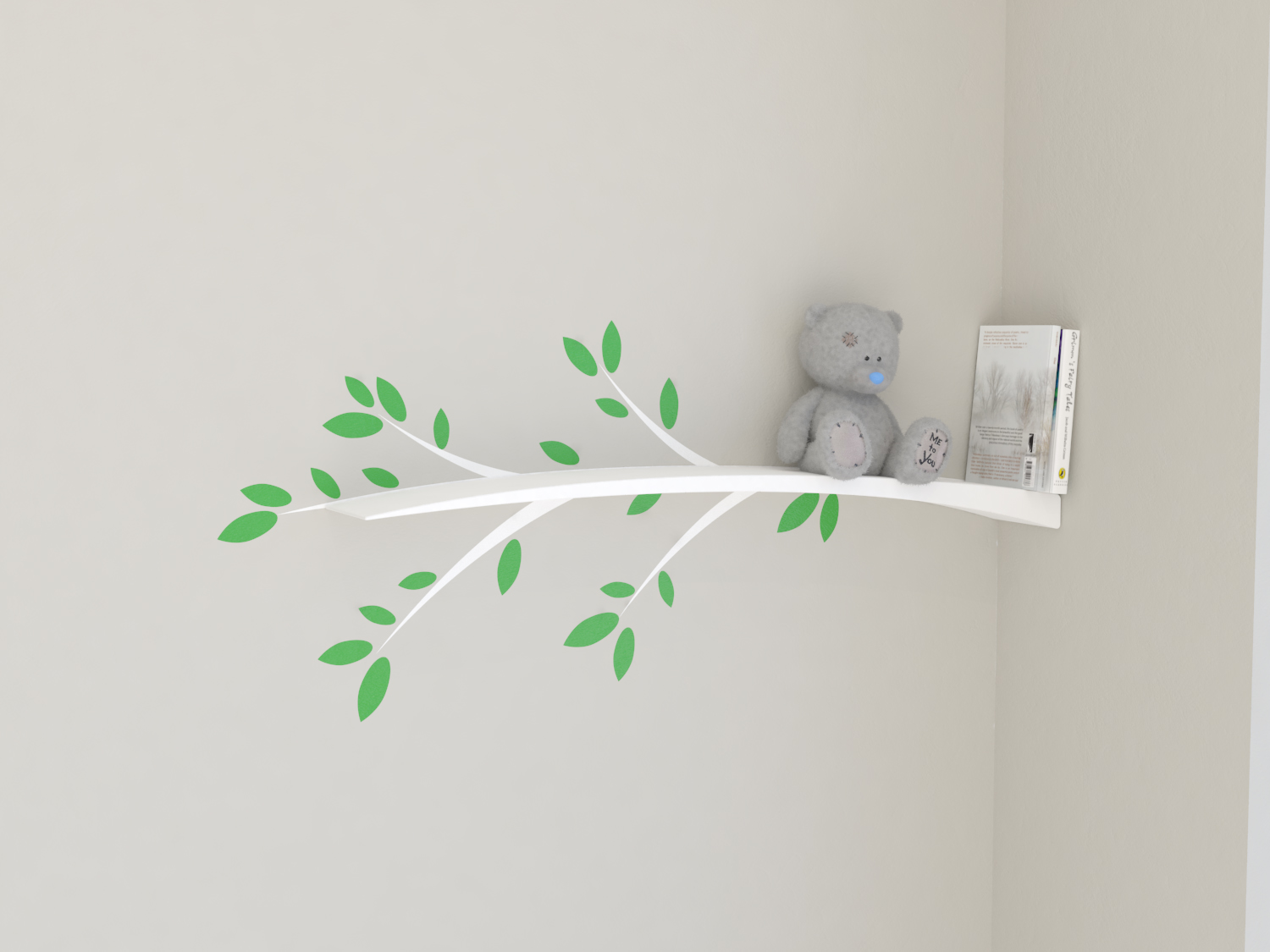 Nursery Shelves Kids Bookshelf Tree Branch Shelf Wall Decal White