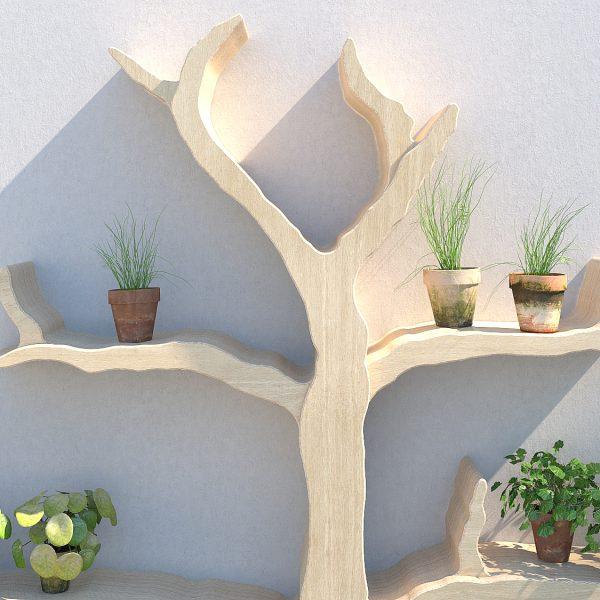 Garden tree shelf outdoor shelf outdoor shelving wall feature tree shelf garden shelves wiltshire oak tree shelf