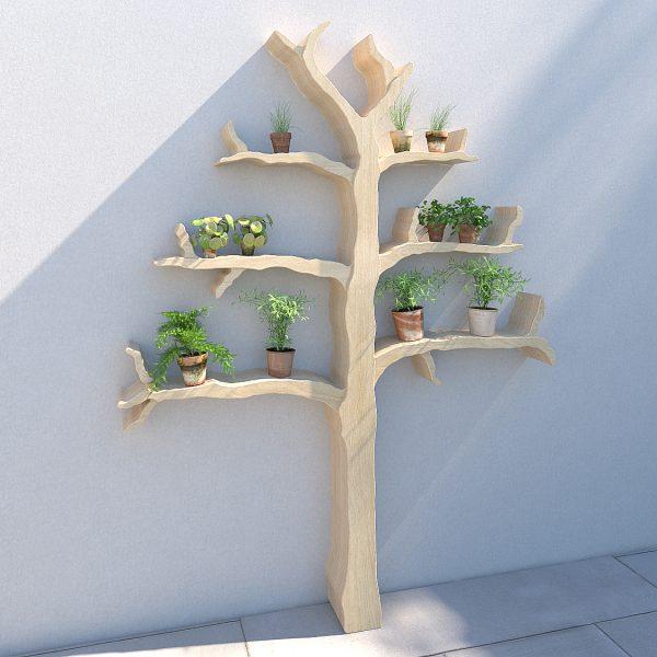 Garden tree shelf outdoor shelving wall feature tree shelf garden shelves wiltshire oak tree shelf