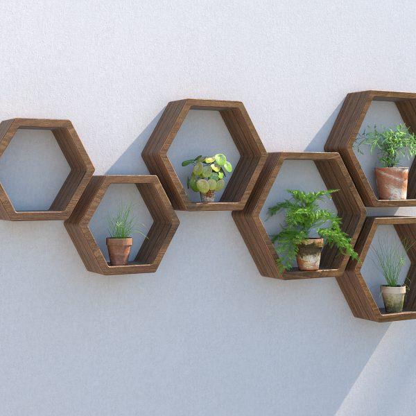 Hexagon shelves outdoor shelving garden shelves garden wall art plant wall garden wall ideas hexagon shelves