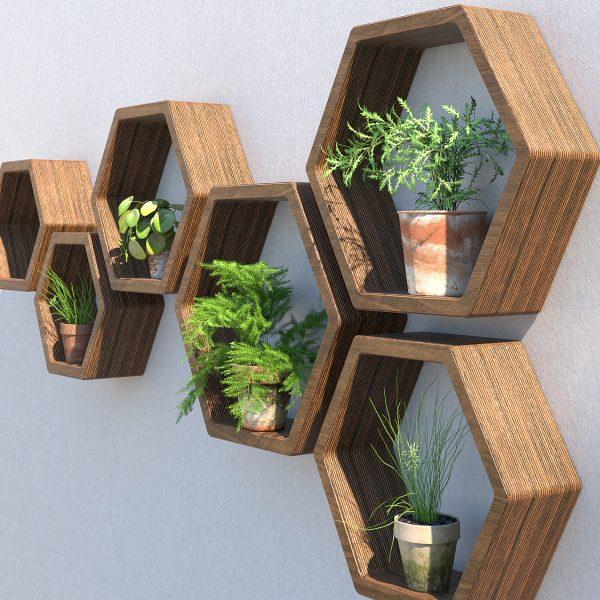 Outdoor hexagon shelving garden shelves garden wall art plant wall garden wall ideas hexagon shelves