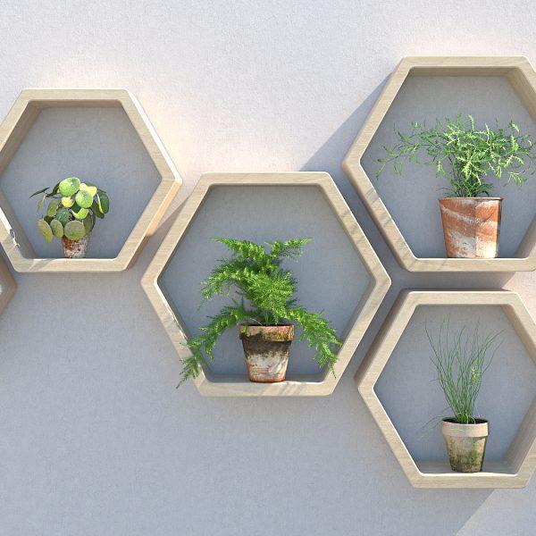 Outdoor shelving garden shelves garden wall art plant wall garden wall ideas hexagon shelves