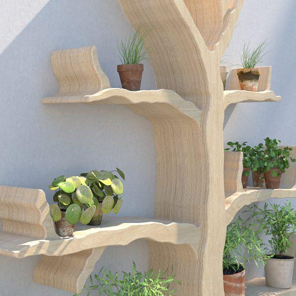 Outdoor shelving wall feature tree shelf garden shelves wiltshire oak tree shelf
