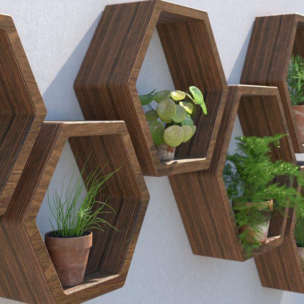 garden shelves outdoor shelving garden wall art plant wall garden wall ideas hexagon shelves