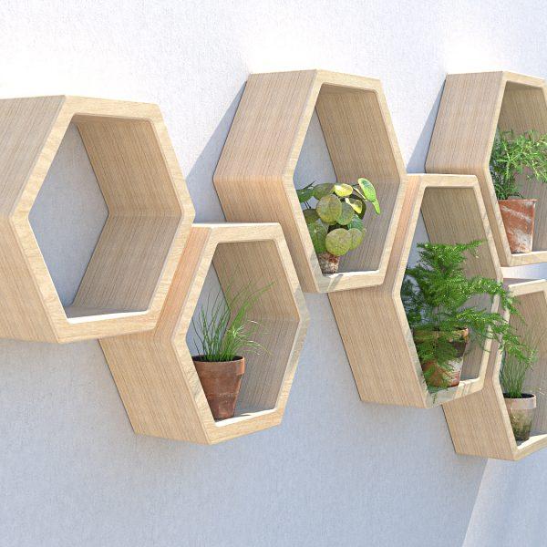 hexagon garden shelves outdoor shelving garden wall art plant wall garden wall ideas hexagon shelves