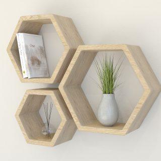 Hexagon Shelves Solid Oak hexagon wall shelf