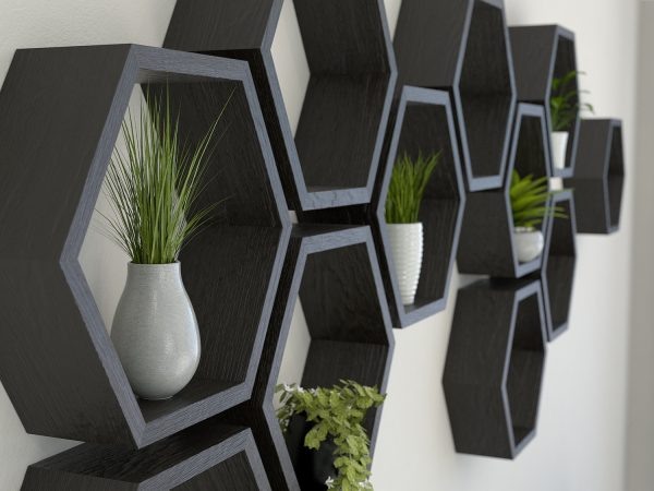 Black hexagon shelves black stained oak hexagon shelf solid oak hexagon shelf honeycomb shelf