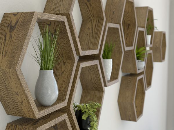 Hexagon shelves dark oak hexagon shelf solid oak hexagon shelf honeycomb shelf