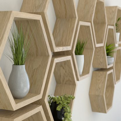 Hexagon shelves oiled oak hexagon shelf solid oak hexagon shelf honeycomb shelf