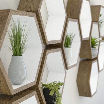 Hexagon shelves white painted dark oak hexagon shelf solid oak hexagon shelf honeycomb shelf