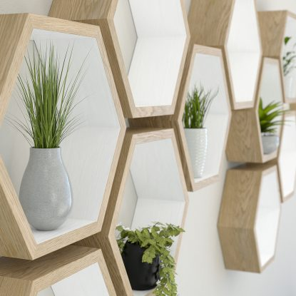 Hexagon shelves white painted oiled oak hexagon shelf solid oak hexagon shelf honeycomb shelf