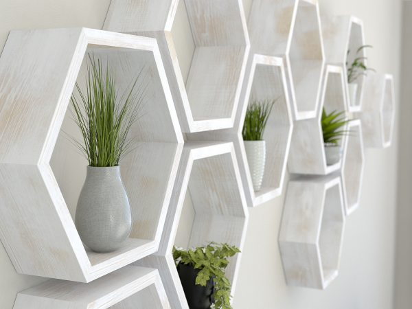 Rustic white hexagon shelves white painted aged oak hexagon shelf solid oak hexagon shelf honeycomb shelf