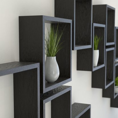 Square shelves black stained solid oak cube shelf