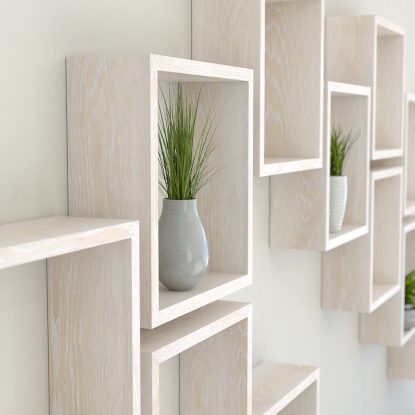 Square shelves limed oak solid oak cube shelf