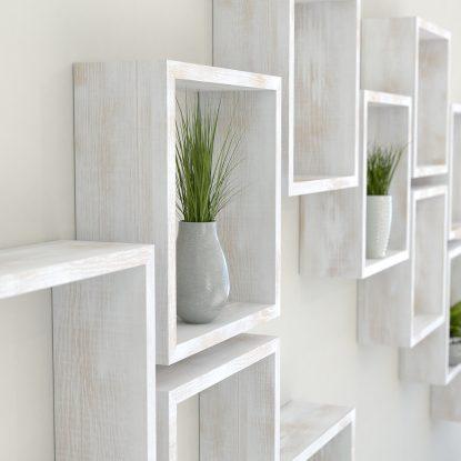 Square shelves rustic white painted solid oak cube shelf