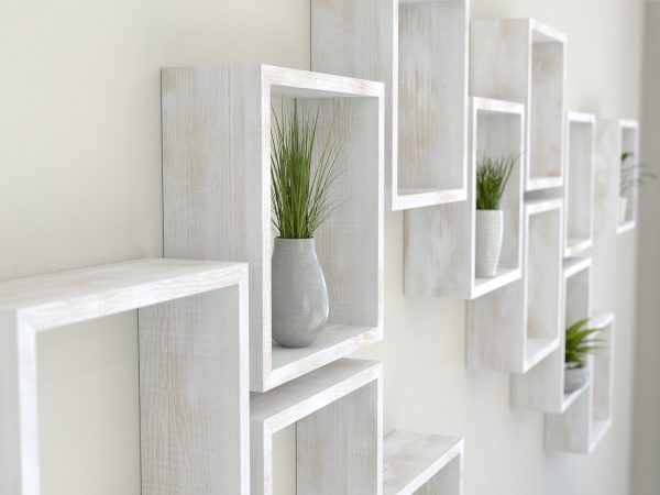 Square shelves rustic white painted solid oak cube shelf