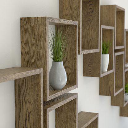 Square shelves solid dark oak cube shelf