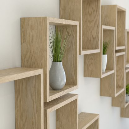 Square shelves solid oak cube shelf