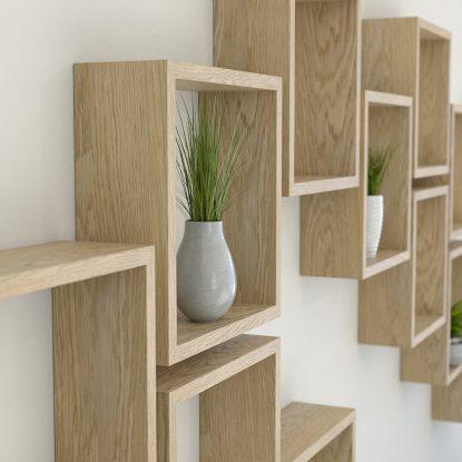 Square shelves solid oak cube shelf