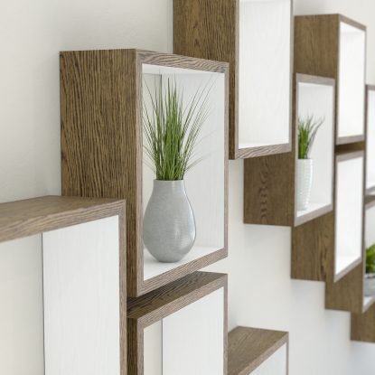 Square shelves white painted dark oak cube shelf