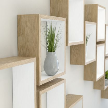 Square shelves white painted oiled solid oak cube shelf