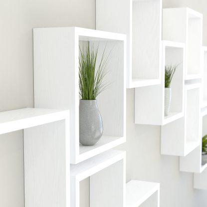 Square shelves white painted solid oak cube shelf
