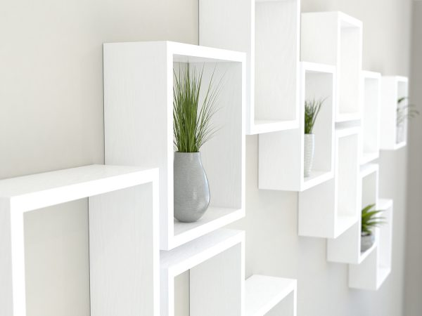 Square shelves white painted solid oak cube shelf