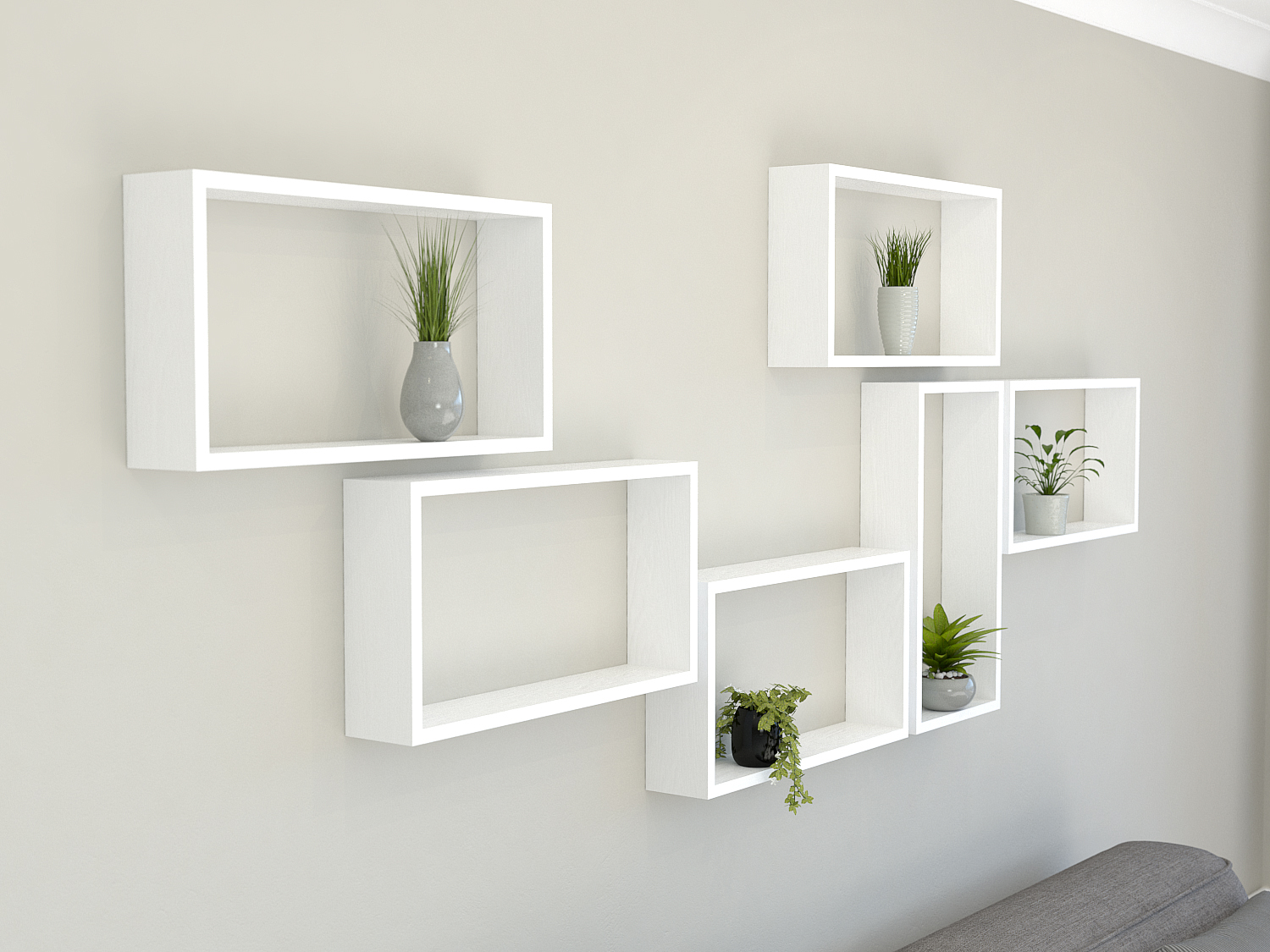Rectangle Shelves - Solid Oak Hand Painted in Farrow & Ball