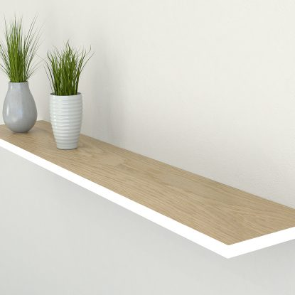 wimbourne white edge painted oiled oak floating shelf slimline shelves oak wall shelf solid oak shelf