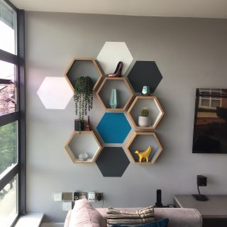 Painted hexagon wall feature