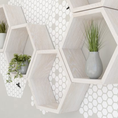 White honeycomb wall decal set for hexagon shelves hexagon shelf
